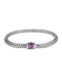 Classic Chain 5Mm Extra Small Braided Silver Bracelet Amethyst John Hardy Purple