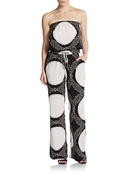 Saks Fifth Avenue Red Strapless Print Jumpsuit