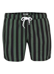 Topman Green And Black Stripe Swim Shorts