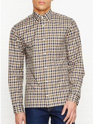 Aquascutum London Emsworth Club Check Long Sleeve Shirt Brown Blue