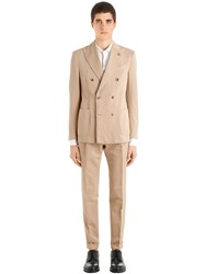 Lardini Linen And Cotton Solaro Unlined Suit Beige