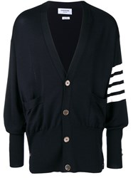 Thom Browne 4 Bar Oversized Cardigan Blue