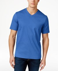 Club Room Men's Cotton V Neck T Shirt Only At Macy's Palace Blue
