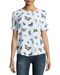 Equipment Riley Butterfly Print Silk Tee Bright White