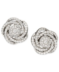 Wrapped In Love Diamond Earrings 14K White Gold Diamond Pave Knot Earrings 1 Ct. T.W.