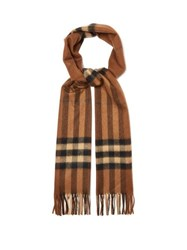 Burberry Giant Icon Checked Cashmere Scarf Brown