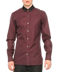 Lanvin Contrast Collar Striped Button Down Shirt Charcoal Grey