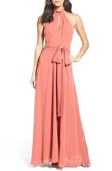 Lulus Women's Ruffle Neck Halter Gown Rusty Rose