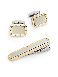Lotus Two Tone Stainless Steel Cuff Link And Tie Bar Set Silver