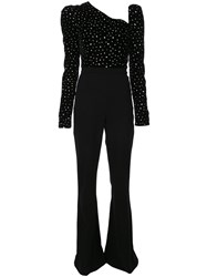 Christian Siriano Crystal Embellished Flared Jumpsuit Black