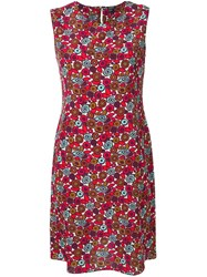 Aspesi Printed Shift Dress Red