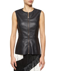 Cedric Charlier Cedric Charlier Faux Leather Zip Peplum Top