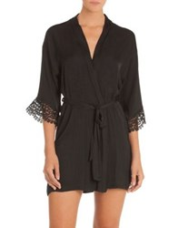 In Bloom Byzantine Lace Trimmed Wrap Coverup Black