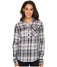 Kuhl Spektra Plaid Sail Blue Long Sleeve Button Up Navy