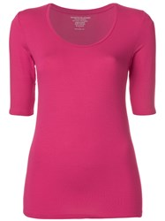 Majestic Filatures Cropped Sleeves T Shirt Pink And Purple