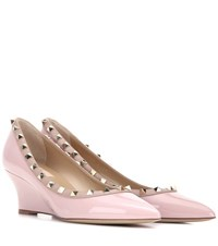 Valentino Rockstud Patent Leather Wedge Pumps Pink