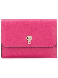 Valextra Small Continental Wallet Women Calf Leather One Size Pink Purple
