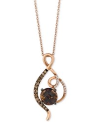 Le Vian Chocolatier Smoky Quartz 5 8 Ct. T.W. And Diamond 1 4 Ct. T.W. Swirl Pendant Necklace In 14K Rose Gold