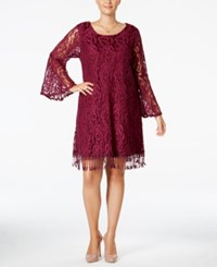 Plus Size Lace Fringe Trim Dress Plum