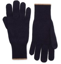 Brunello Cucinelli Contrast Tipped Cashmere Gloves Navy