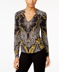Inc International Concepts Petite Printed Zip Front Blouse Only At Macy's Enchanted