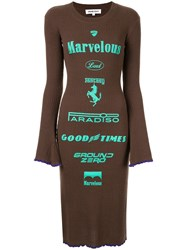 Ground Zero Brand Print Knitted Dress Brown
