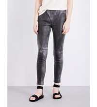Drifter Valkyrie Skinny Leather Trousers Metallic Black