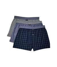 Kenneth Cole Reaction 3 Pack Woven Boxer White Navy Mini Window Navy Pinstripes Underwear Multi