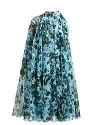 Erdem Brigitta Fitzy Rose Print Silk Voile Cape Dress Blue Multi