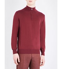 Canali Zip Collar Knitted Jumper Burgundy
