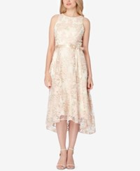 Tahari By Arthur S. Levine Asl Belted Embroidered High Low Dress Ivory Pink