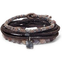 M.Cohen The Create Stack Ii Sterling Silver And Labradorite Bracelets Brown