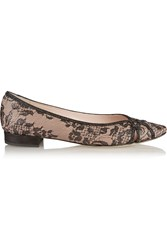 Rene Caovilla Embellished Lace Covered Leather Slippers Black