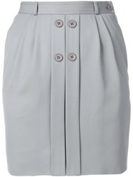 Valentino Vintage Button Detail Fitted Skirt Grey
