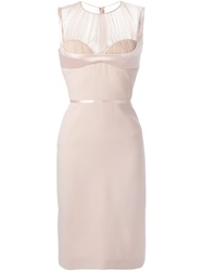 Alexander Mcqueen 'Harness' Pencil Dress Pink And Purple