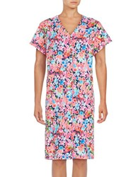 Miss Elaine Floral Short Robe Blue