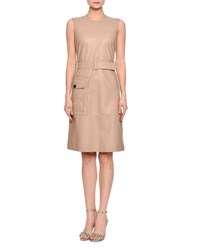 Bottega Veneta Sleeveless Leather Dress Mink