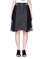 Chictopia Floral Jacquard Panel Lace Skirt Black