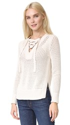 Derek Lam Lace Up V Neck Sweater Natural