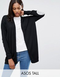 Asos Tall Swing Cardigan With Grey Oval Elbow Patch Black