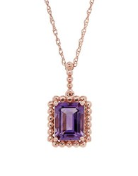 Lord And Taylor Amethyst 14K Yellow Gold Bead Emerald Cut Pendant Necklace Purple