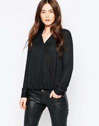 Brave Soul Long Sleeve Wrap Front Blouse Black