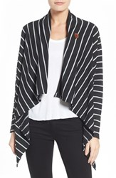 Bobeau Women's One Button Fleece Wrap Cardigan Black Heather Charcoal