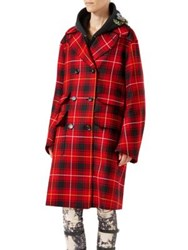 Gucci Embroidered Wool Tartan Overcoat Red Black