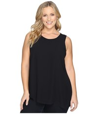 Vince Camuto Plus Size Sleeveless Blouse With Knit Underlay Rich Black Women's Blouse