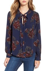 Astr Women's 'Estelle' Floral Tie Neck Blouse