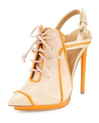 L.A.M.B. Janetta Leather Lace Up Pump Naked Orange
