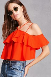 Forever 21 Strappy Flounce Crop Top