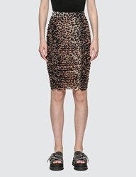 Ganni Printed Mesh Leopard Skirt Brown