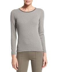 Peserico Long Sleeve Round Neck T Shirt Gray Taupe